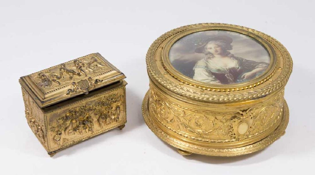 2 French Gilt Bronze Boxes