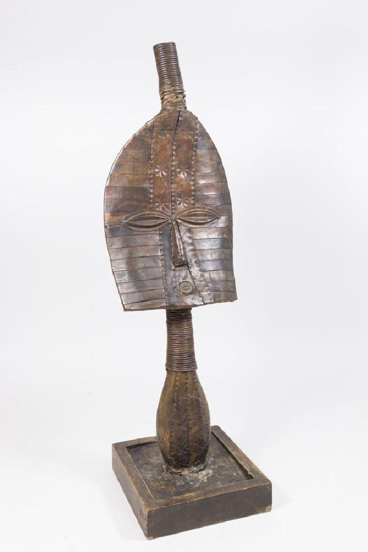 African Metal Bust on Wood Base