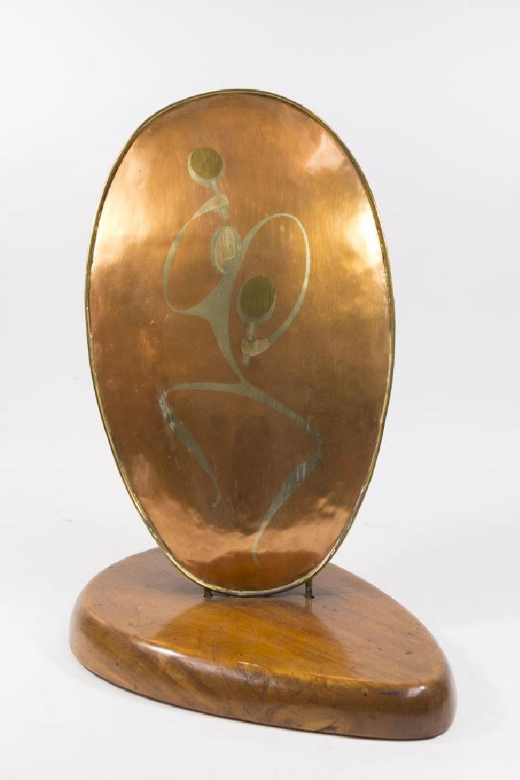 Mid-Century Mixed Metal on Copper Sculpture