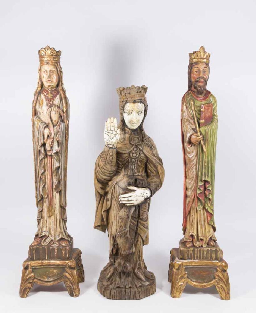 Group 3 Carved Wood Saints