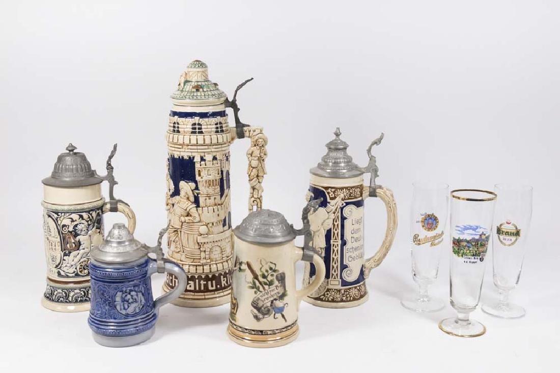 5 German Ceramic Steins & 3 Beer Glasses