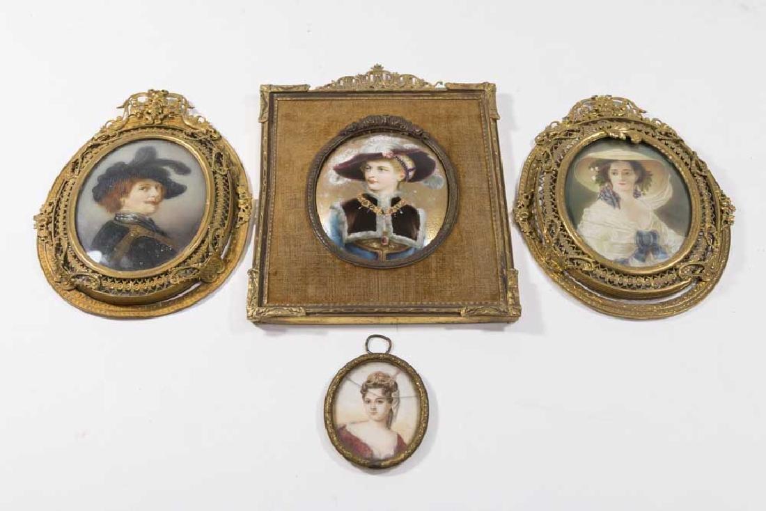 4-19th C. Framed Handpainted Portrait Miniatures