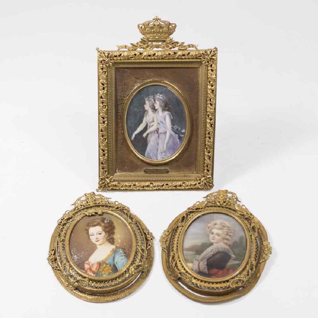 Group 3 Portrait Miniatures of Ladies