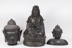 3 Chinese Metal Figures