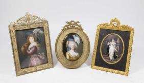 3 Hand Painted Portrait Miniatures of Ladies