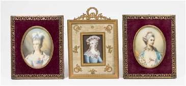 3 Hand Painted Portrait Miniatures of Ladies