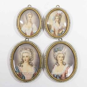 4 Hand Painted Portrait Miniatures of Ladies