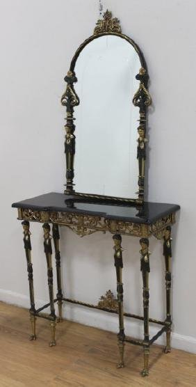 Patinated Bronze Console & Mirror