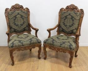 Pair Louis XV Style Beechwood Stained Fauteuils