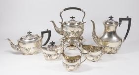 6-Piece English Silver Soldered Tea Set