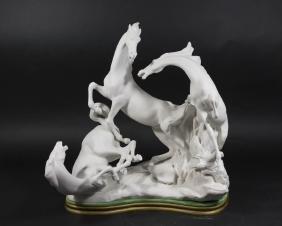 Lladro Figure, White Horse Grouping