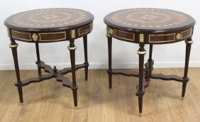Pair Marquetry Round Tables