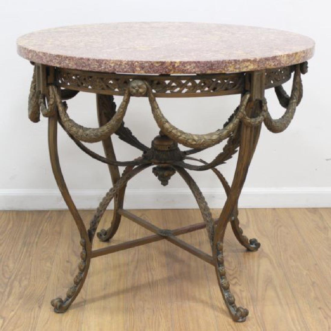 French 19th C. Gilt Marble Top Center Table
