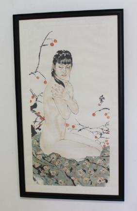 Large Framed Chinese Painting of Nude