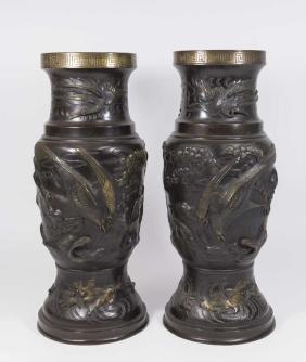 Pair Bronze Asian Figural Lamp Bases