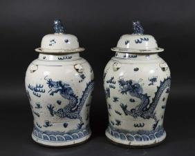 Pair Chinese Blue & White Covered Ginger Jars