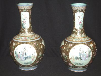 153: PAIR LATE 19TH C. CHINESE URNS
