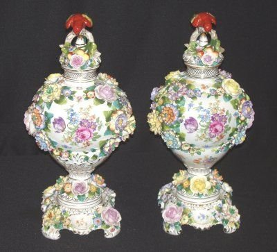 """154: PAIR 19"""" DRESDEN COVERED URNS"""