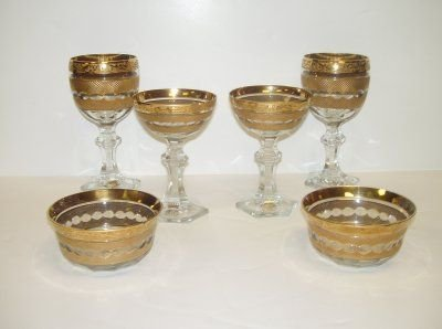 158: 36 PIECES OF GOLD ENCRUSTED CRYSTAL GOBLETS, BOWLS