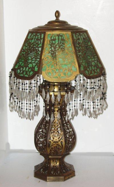 162: TURKISH STYLE BRASS & GLASS LAMP