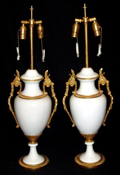 163: PAIR FRENCH PORCELAIN LAMPS