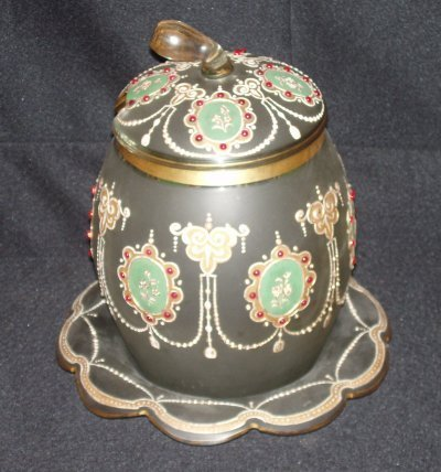 170: 19TH C. FRENCH GILT & JEWELLED VASE & UNDERPLATE