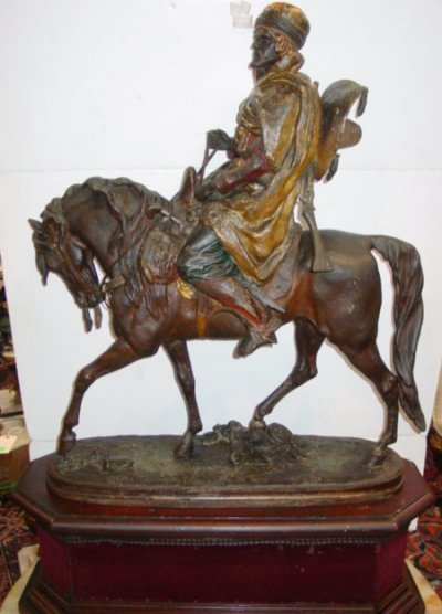 473: 19TH C. METAL ARAB ON HORSE ARTIST SIGNED
