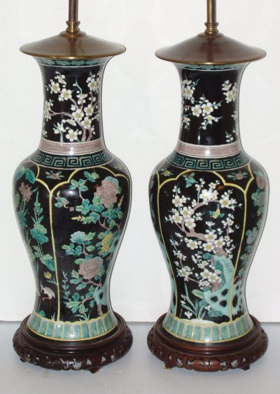 478: PAIR 19TH C. CHINESE FLORAL VASES MOUNTED AS LAMPS
