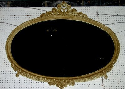 488: CARVED FRENCH MANTLE MIRROR WITH FLORAL CARTOUCHE