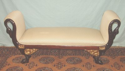 494: 19TH C. EMPIRE FIGURAL CARVED WINDOW BENCH
