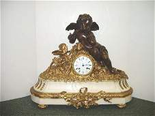 501 19TH C FRENCH BRONZE  MARBLE MANTLE CLOCK