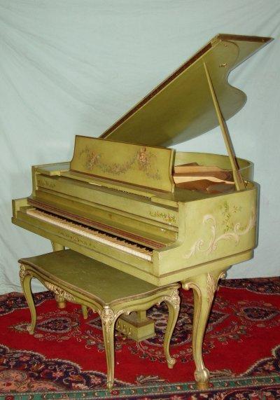 647: VENETIAN DECORATED FRENCH LEG BABY GRAND PIANO