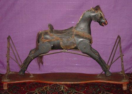 837: 19TH C. WOOD ROCKING HORSE