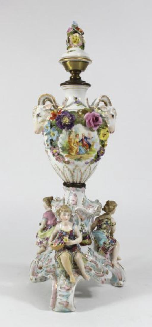 Dresden Style Figural Porcelain Lamp