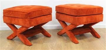"Pair 70s American Orange Velvet ""X"" Bench"