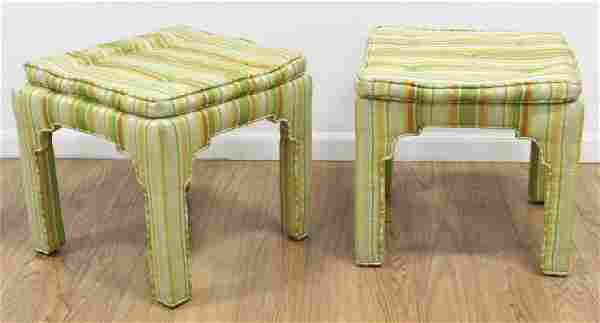 Pr 70s American Striped Cotton Upholstered Benches