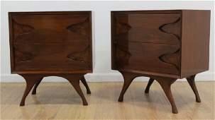 Pair 50s American Mahogany  Burlwood Night Tables