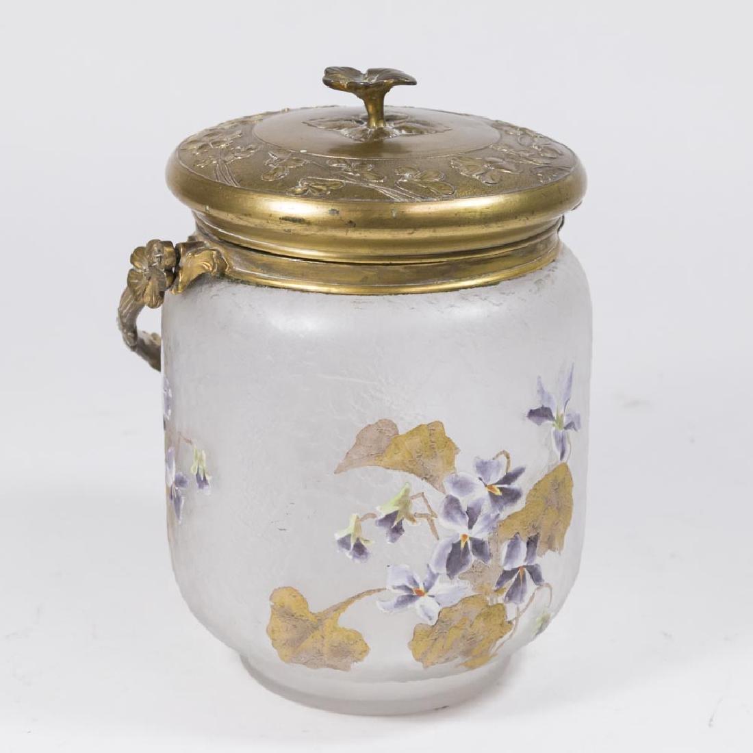 Emile Galle Metal Covered Biscuit Jar
