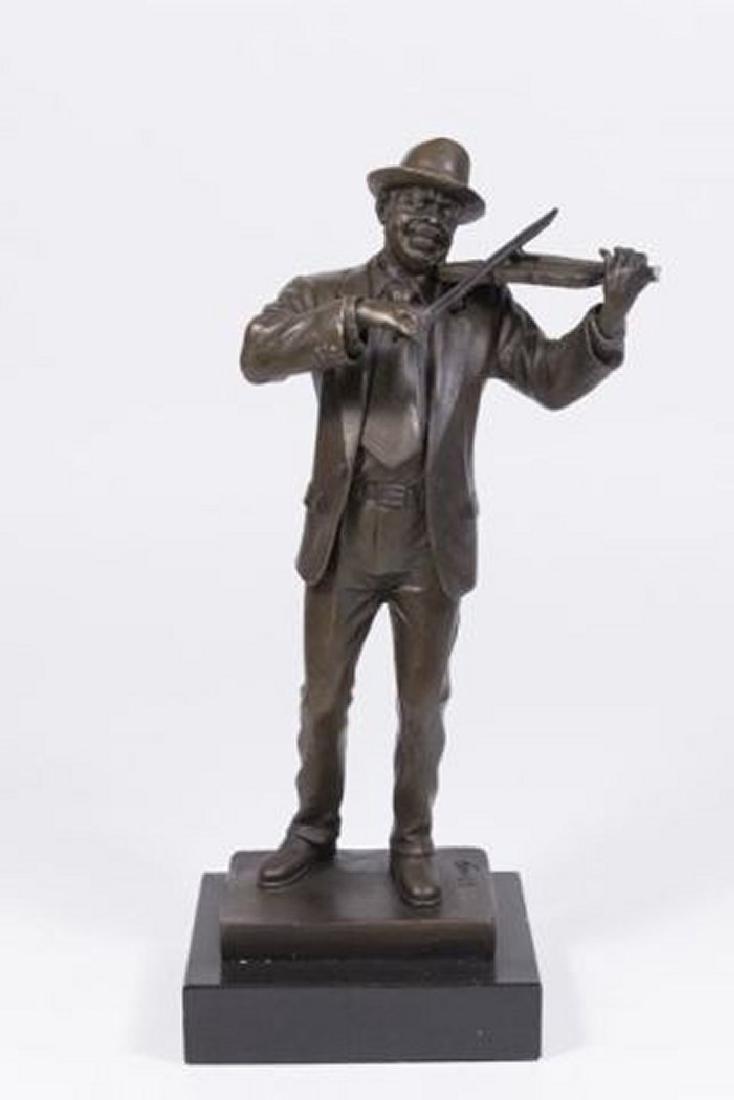 :Contemporary Bronze Figure of Violinist