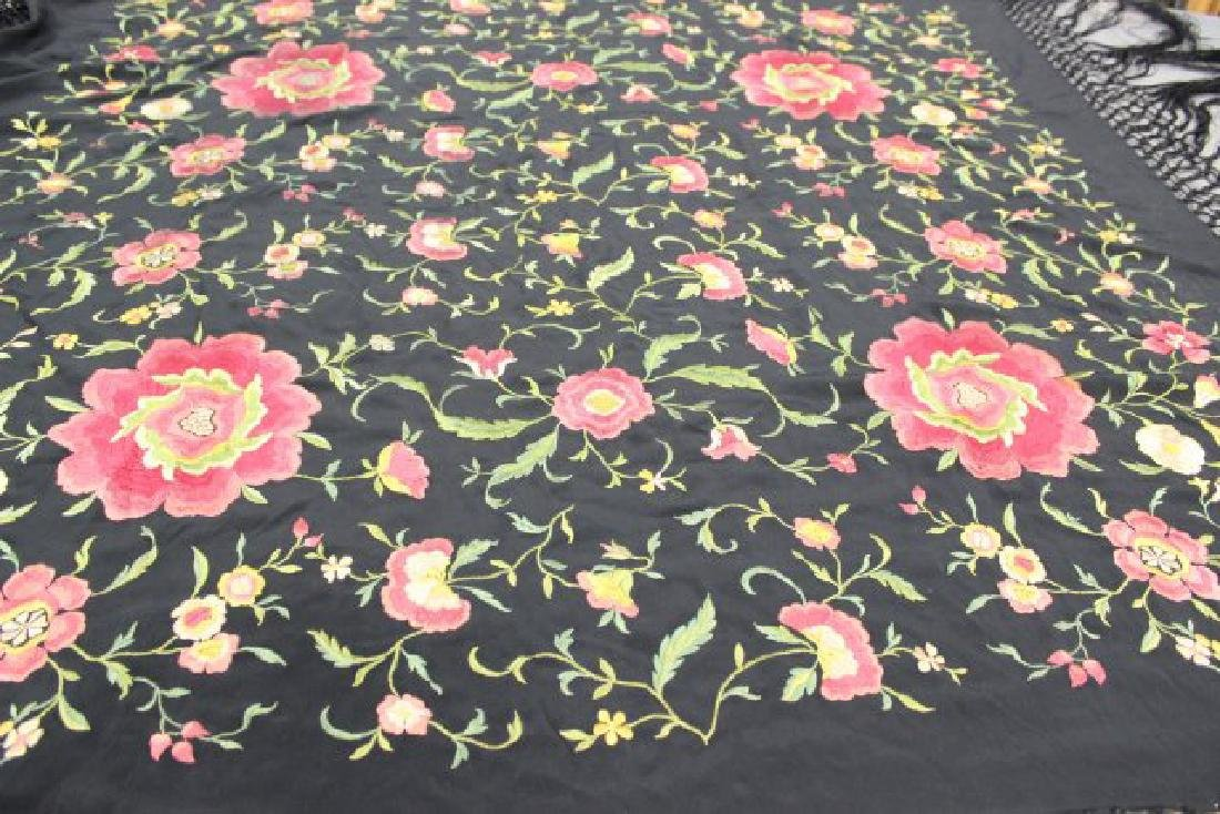 Vintage Spanish Silk Embroidered Piano Shawl