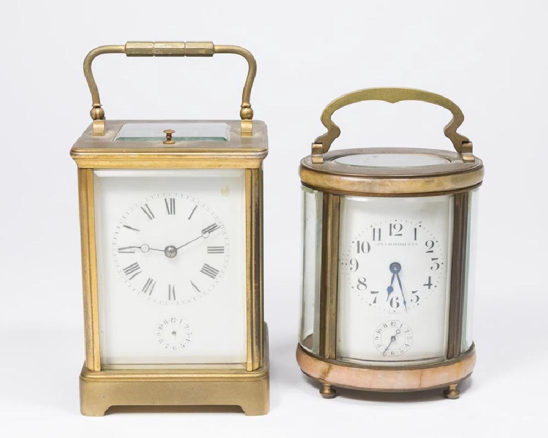 2 Carriage Clocks, Oval Caldwell & Other