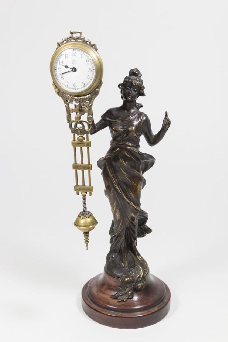 Bronze-Tone Classical Figural Swing Clock