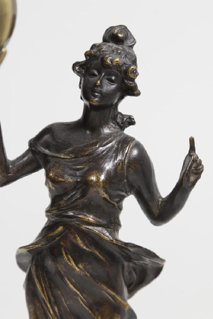 Bronze-Tone Classical Figural Swing Clock - 2