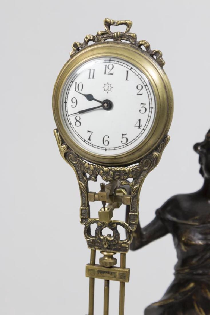 Bronze-Tone Classical Figural Swing Clock - 3