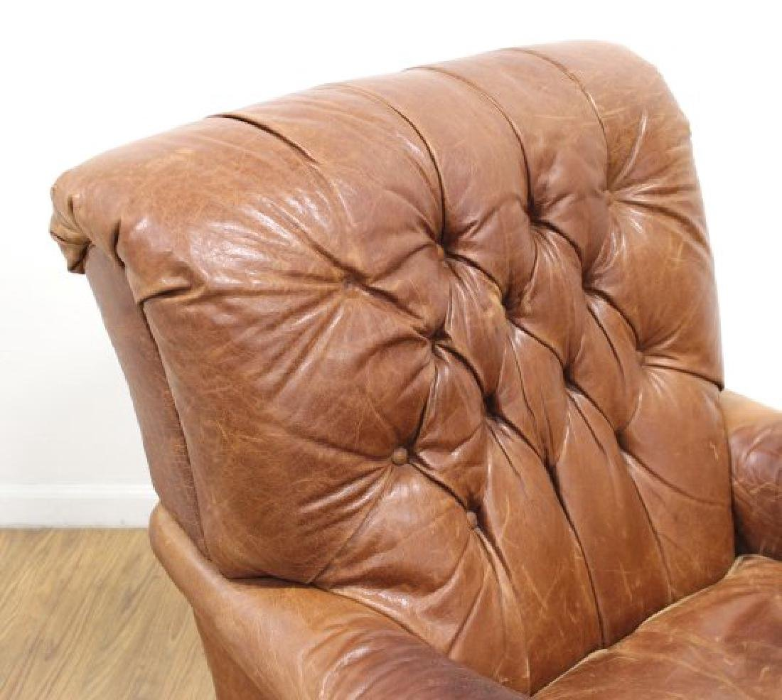Tufted Brown Leather Armchair - 2
