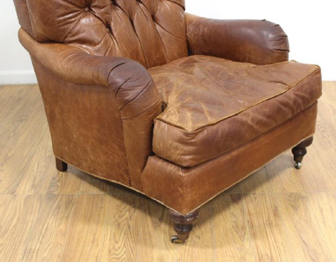 Tufted Brown Leather Armchair - 3