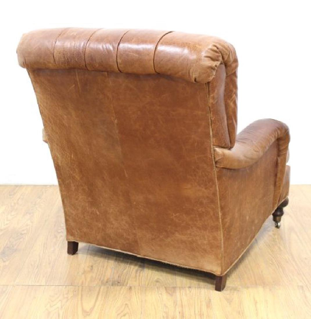 Tufted Brown Leather Armchair - 4