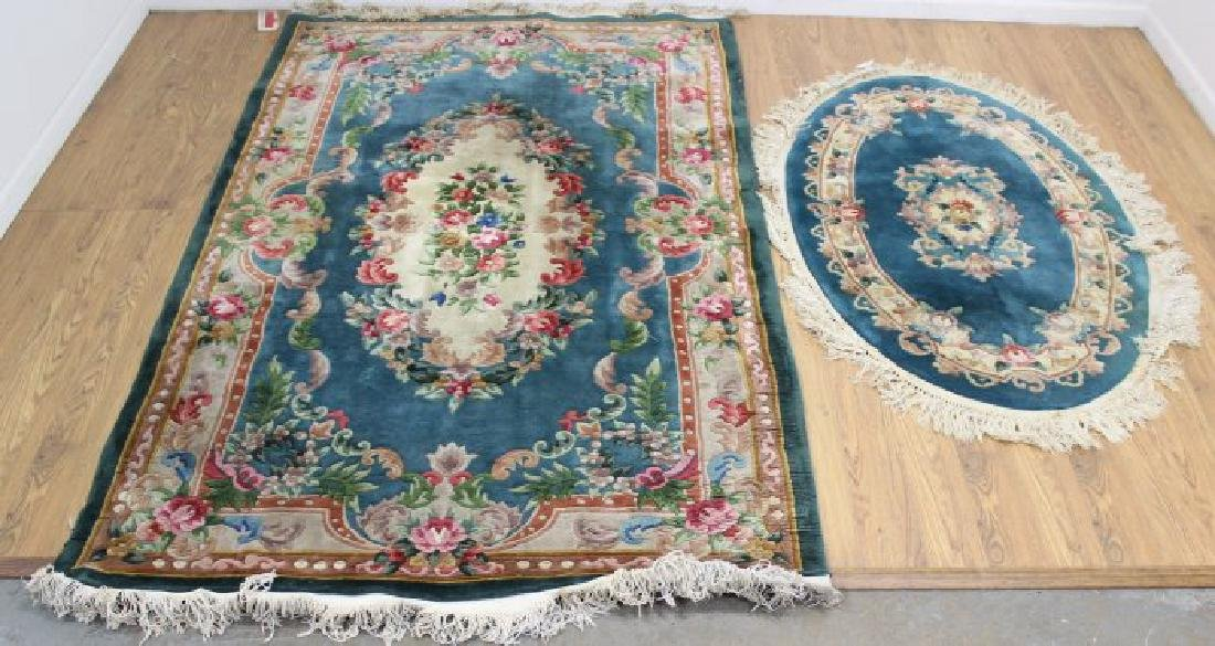 2 Green Chinese Sculpted Rugs/Carpets