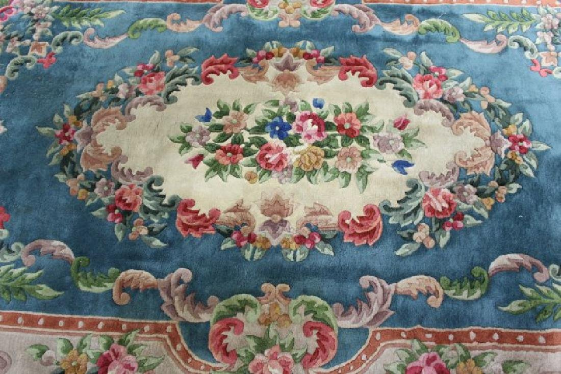 2 Green Chinese Sculpted Rugs/Carpets - 2