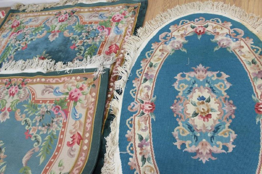 2 Green Chinese Sculpted Rugs/Carpets - 5